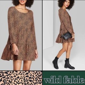 🖤 NWT Wild Fable Leopard Tiered Babydoll Dress